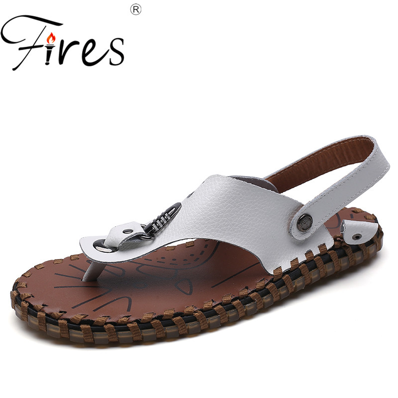 Fires Mans Flat Shoes Comfortable Cool Summer Sandals Outdoor Casual Loafer Shoes Zapatos de Hombre Men Leather Leisure Shoes