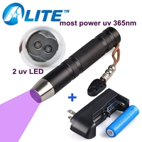[Nave libre] 5 W LED UV LÁMPARA 18650 batería 365 NM uv 365nm Linterna Ultravioleta más potente flash luz
