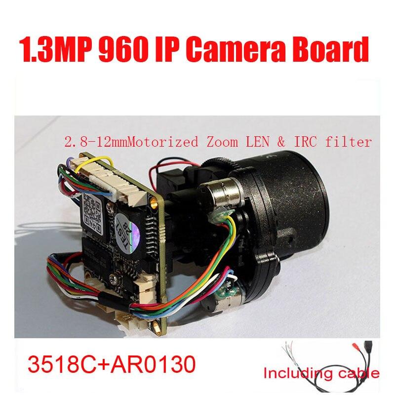 DIY HD IP Camera Module 960P AR0130 1.3MP 1080P IMX323 2MP Motorized Zoom LEN & IRC filter Camera Module Free Shipping free shipping diy hd ip camera module 1080p 3518ev200 f22 2mp cmos ip camera board include 3 6mm ir cut cable camera module