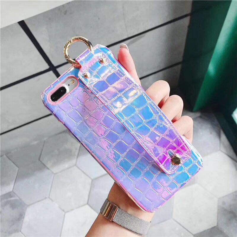 Fashion Trendy Shining Hand Strap Band Glossy Soft TPU Cover Phone Case For iPhoneX 8/6s 7plus Skinny Shell Protection