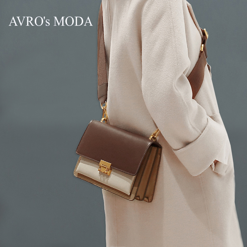 AVRO's MODA Brand Luxury Genuine Leather Shoulder Bags For Women 2019 Ladies Design Panelled Crossbody Retro Messenger Flap Bag