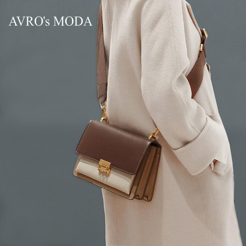 Sacs à bandoulière en cuir véritable de luxe de marque MODA d'avro pour femmes 2019 sac à bandoulière rétro à rabat-in Sacs à bandoulière from Baggages et sacs    1