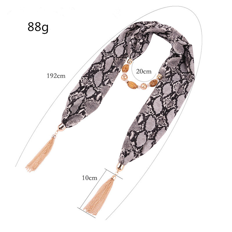 Image 2 - Ahmed 2019 New Fashion Snake/Leopard Printing Pendant Necklace  Scarf for Women Muslim Head Tassel Scarf Female Cloth  AccessoriesPendant Necklaces