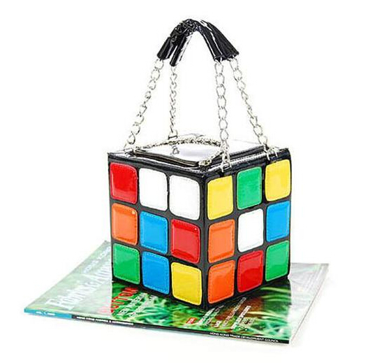 2016 new handbag personality quality pu leather fashion casual colorful love cube bag phone purse stereotypes small square bag