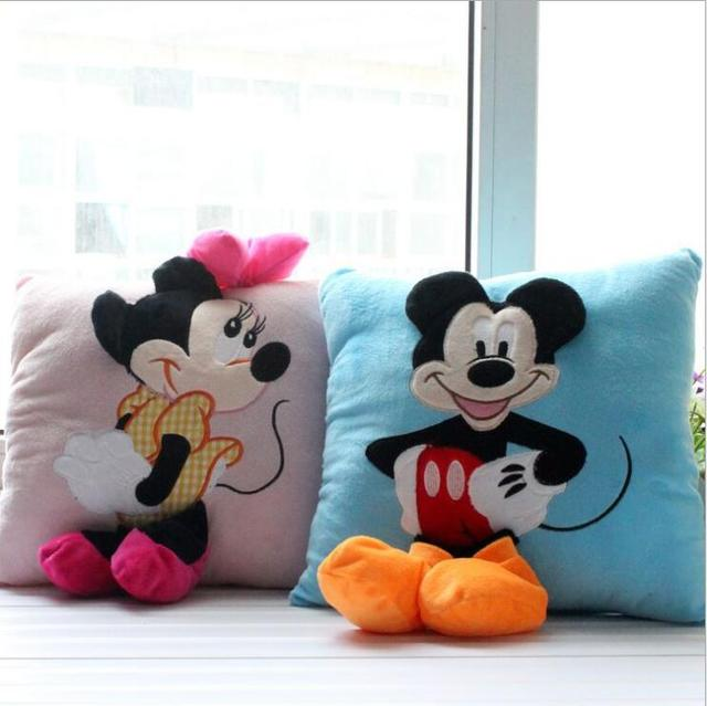 2 unids 35*35 cm Mickey Mouse y Minnie peluche Almohadas Cojines