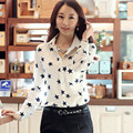 Fashion Women Chiffon Blouses Office Lady Shirts Spring Summer Slim Temperament Long-Sleeved Lapel Star Printing Comfortable