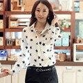 Moda Gasa de Las Mujeres Blusas de Señora de la Oficina Camisetas Primavera Verano Temperamento Delgado de manga Larga Solapa Estrella de Impresión Cómoda