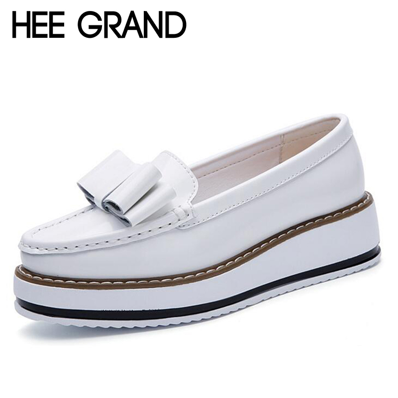 HEE GRAND Bowknot Deciration Women Thick Heel Pumps Women Oxford Shoes Split Leather Spring Causal Shoes Slip On Pumps xwd6522