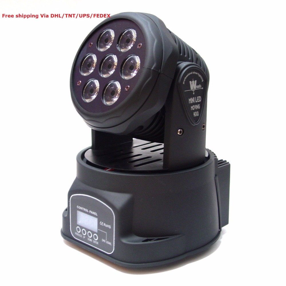 Free Shipping wholesale 7x10W Led mini moving head spot wash stage lights DMX mode DJ home party laser projector disco light led 30w spot moving head lights party disco dj stage lighting 30w mini gobo projector dmx stage effect light led pattern lamps