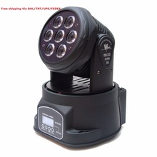 Free Shipping wholesale 7x10W Led mini moving head spot wash stage lights DMX mode DJ home party laser projector disco light