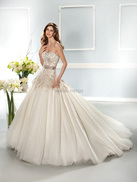 Best selling 2014 Collection Sweetheart Beaded Luxury Tulle Lace A ...