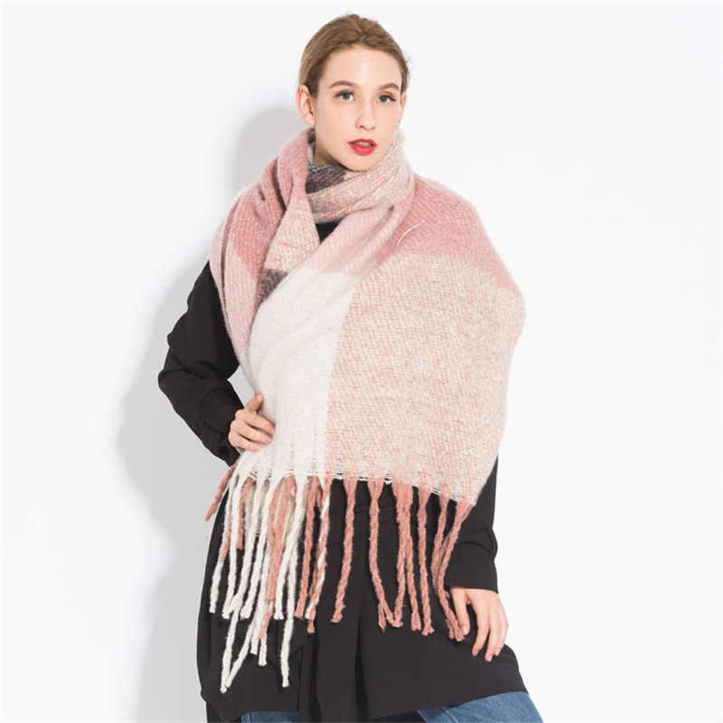 2018 New Fashion Winter Warm Plaid Women Scarf Pashmina Thicken Blanket Shawls And Wraps Long Cashmere Female Dropshiping