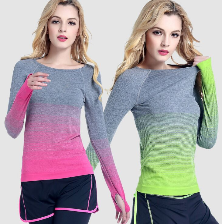 Gradient Color Striped Long Sleeved Sports T-shirts For Women Gym Yoga Shirt Quick Dry Fitness T-shirt Workout Running Tops