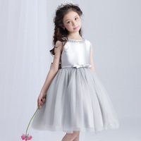 Retail Elegant Crystal Neck Girls Princess Evening Party Dress Gray Knee Length Girls Wedding Dress With