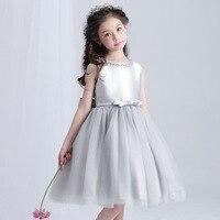 Retail Elegant Crystal Neck Girls Princess Evening Party Dress Gray Knee Length Girls Wedding Dress With