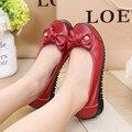 Плюс Размер 35-43 Натуральная Кожа Квартира с женской обуви Большой размер мягкое дно Бездельники обувь пожилые повседневная обувь