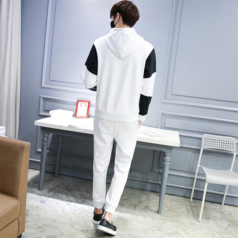 ff4942bd5df Casual sporting suit men hooded tracksuit track hidden suspenders Black  men s sweat suits set Pockets white Z print large size-in Men s Sets from  Men s ...