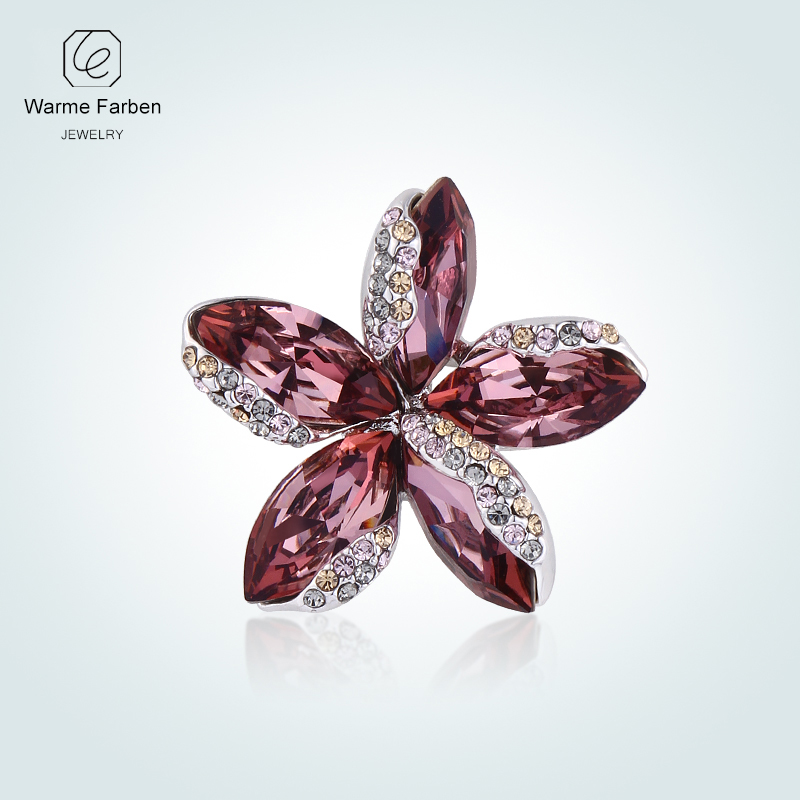 WARME FARBEN Crystal From Swarovski Fashion Flower Brooches for Women Suit Scarf Pins Crystal Zircon Brooch Jewelry Accessories letto постельное белье 1 5 сатин sm59 letto 70 70