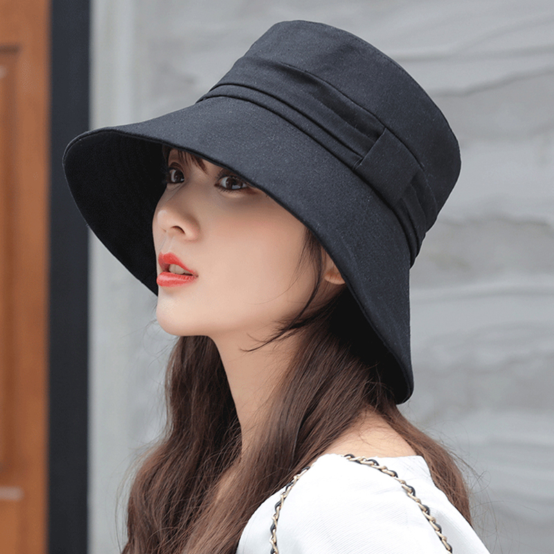 bucket hat folding wash ladies sun protection coat cloth ladies fabric bow wide-brimmed hat(China)