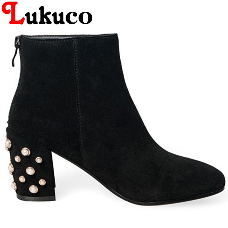 2017 EUR size 37 38 39 autumn shoe Lukuco pure color women ankle boots zipper design high square heel shoes with free shipping
