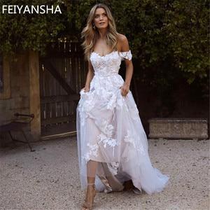 Image 1 - 新しいウェディングドレス 2019 オフショルダーアップリケ A ライン花嫁のドレスの王女のウェディングドレス送料無料ローブデのみ