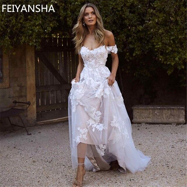 新しいウェディングドレス 2019 オフショルダーアップリケ A ライン花嫁のドレスの王女のウェディングドレス送料無料ローブデのみ
