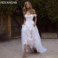 New Wedding Dresses 2019 Off the Shoulder Appliques A Line Bride Dress Princess Wedding Gown Free Shipping robe de mariee