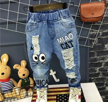 2017 Модные детские джинсы Розничная модный мальчик джинсы брюки детские джинсы детские отверстие ковбой 2-6yeas бесплатная доставка