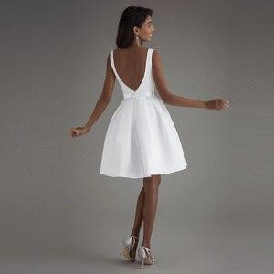 Image 2 - קצר חתונה שמלת 2020 חוף לבן כלה שמלות ללא משענת vestido דה noiva תמונה אמיתית חתונה מסיבת שמלה