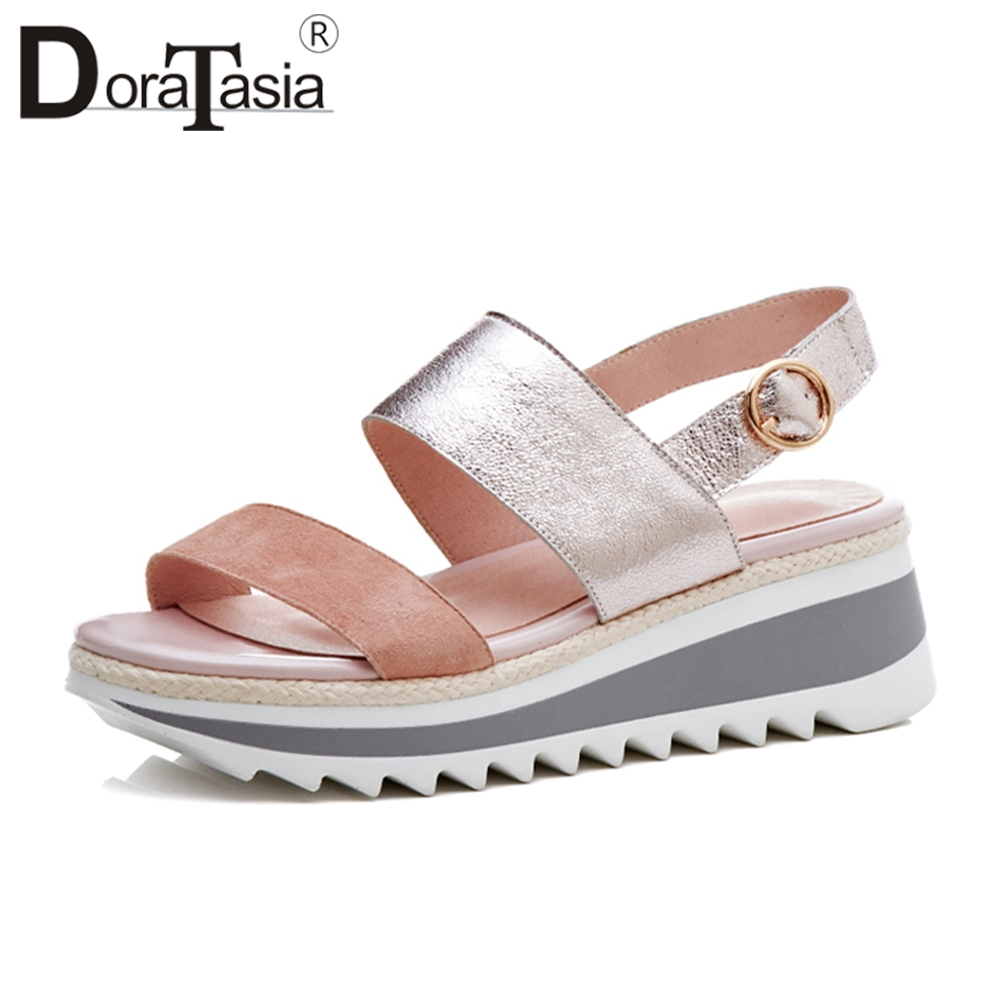 Doratasia 2019 Summer Fashion New Genuine Leather Suede Platform Sandals Women Sweet Casual High Wedges Shoes