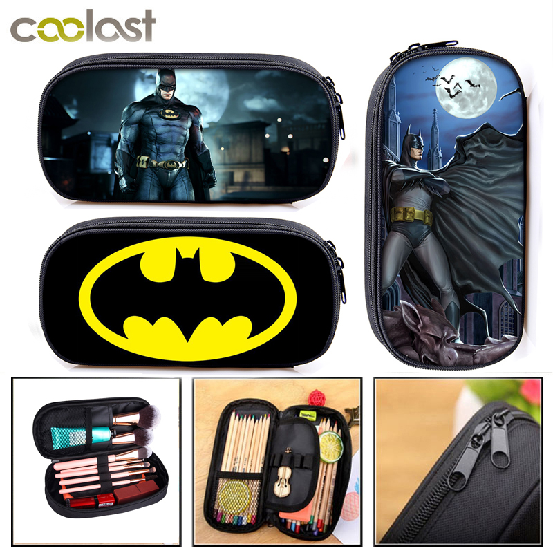 Bag Pencil-Box Cosmetic-Cases School-Supplies Batman Superhero Stationay Cartoon Girls