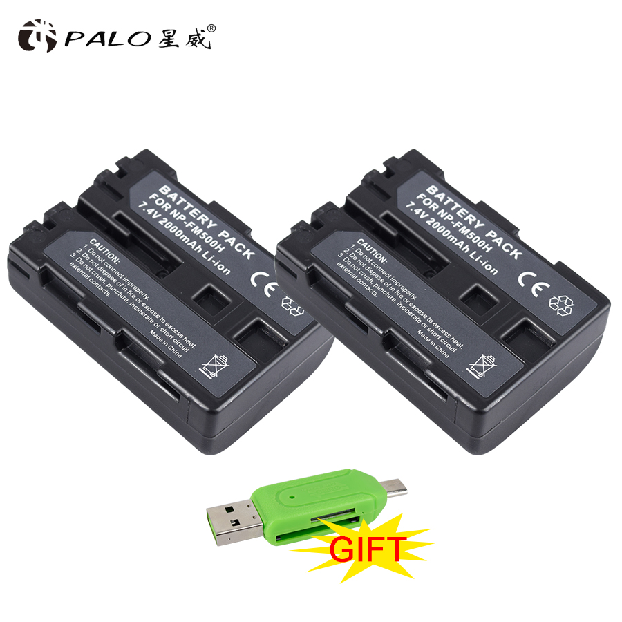 2Pcs NP-FM500H NP FM500H FM50 Battery for SONY A57 A65 A77 A450 A560 A580 A900 A58 A99 A550 A200 A300 A350 A700 A850 F717 A58 meike s af b auto focus macro extension tube ring set adapter for sony alpha a7 ii a580 a550 a350 a900 a77 a550 a300