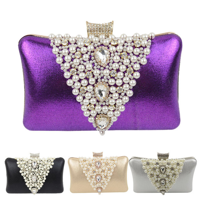 Pearl Evening Bags Women Designer Banquet Bags Crystal Day Clutch Female Wedding Purse and Handbags Ladies Black/Gold Silver