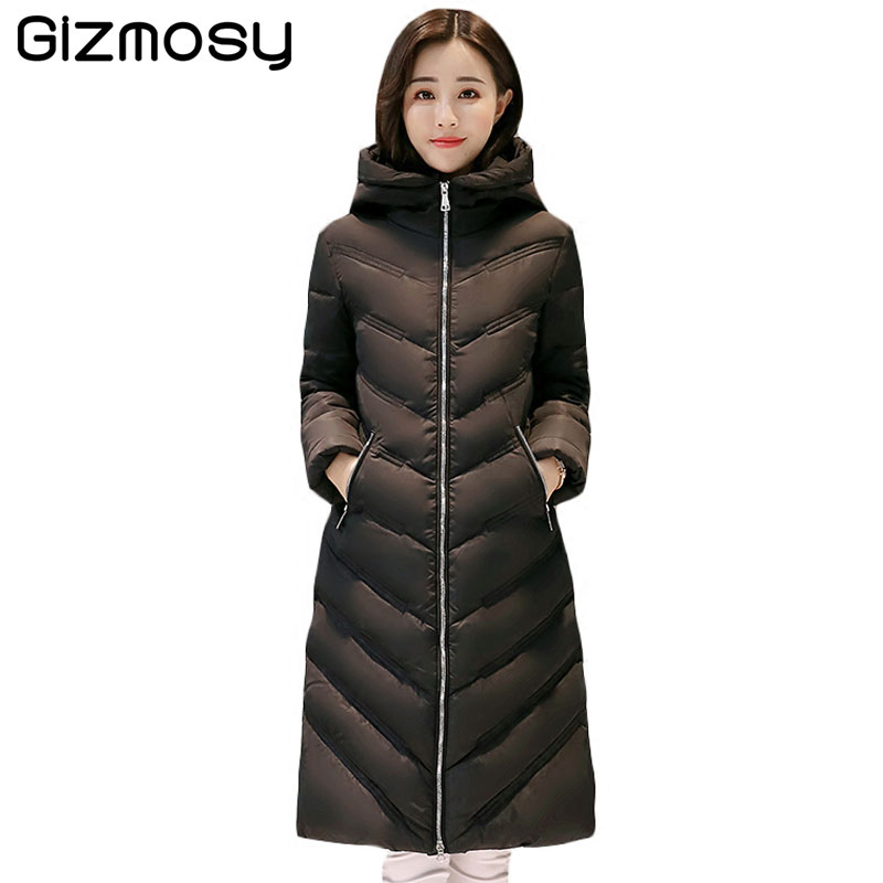 1 PC Winter Jacket Women Hooded Parkas Long Cotton Padded Winter Coat Womens Jaqueta Feminina Casacos De Inverno Feminino BN1598 qazxsw 2017 new winter cotton coat women padded jacket hooded long parkas for girl thick warm winter coat jaqueta feminina hb274