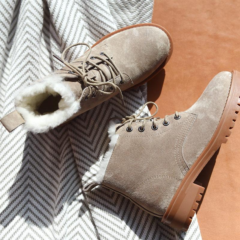 BeauToday laine neige bottes femmes en cuir véritable bout rond à lacets plate forme hiver dames cheville longueur chaussures à la main 03281 - 2