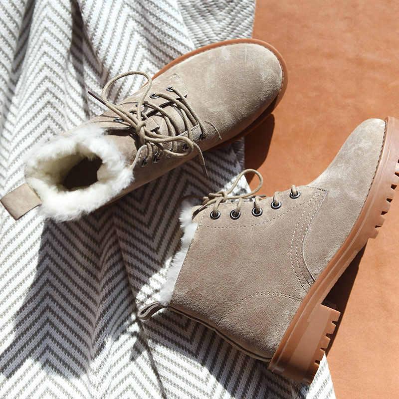 BeauToday yün kar botları kadın hakiki deri yuvarlak ayak dantel-up platformu kış bayanlar ayak bileği uzunluğu ayakkabı el yapımı 03281