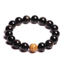Natural Gold Obsidian Stone Jades Bracelet  foil Round Beads Bangles lovers Gift for Men Womens Jewelry