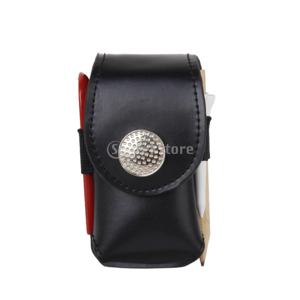 Prix pour Mini Portable En Cuir Clip Sur Balle De Golf Porte-Poche Sac Tenir 2 Boules Golfeur Aide D'outils Cadeau Noir
