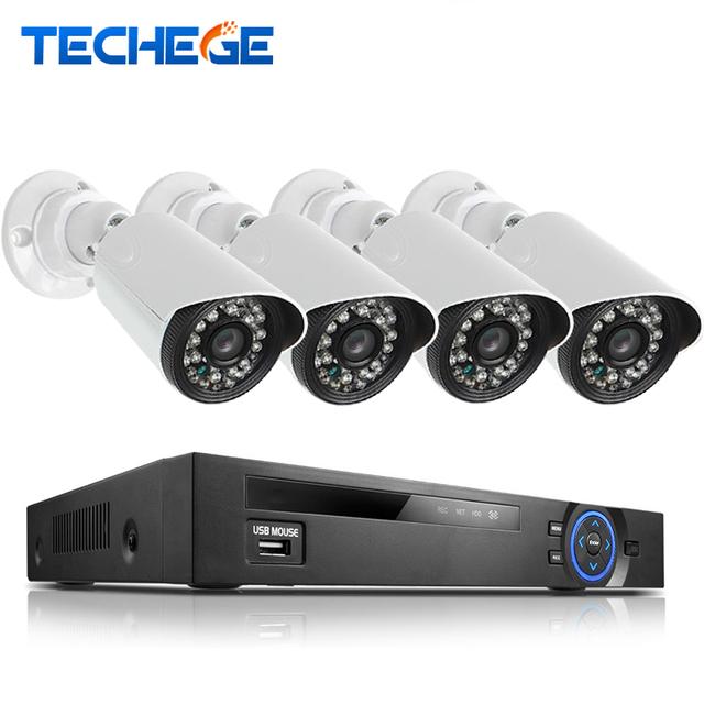 Techege 2.0mp poe 4ch 1080 p nvr sistema de cctv ao ar livre câmera ip hd 1080 p nvr gravador de vídeo da câmera de segurança sistema de vigilância