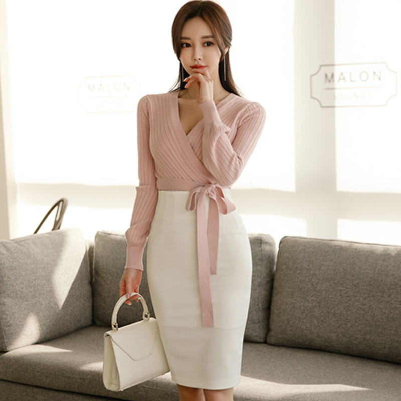 2019 Spring V-Neck Long Sleeve Sashes Knitted Sweater Top White Pencil Bodycon Skirt Two Piece Casual Set Dress
