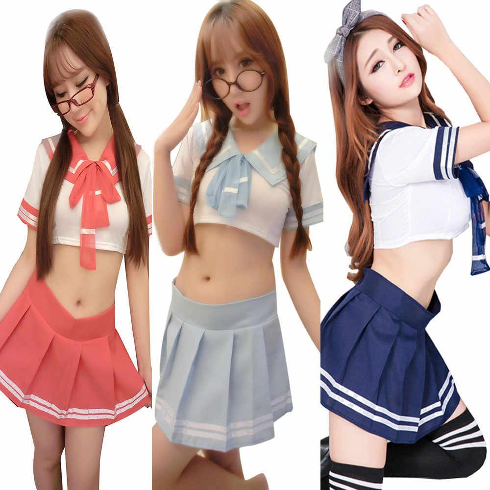 1d557e4afcf812b ... Женское сексуальное нижнее белье униформы искушение Школа Женщины  японская школьная форма косплей чистая школьница костюм ночное ...