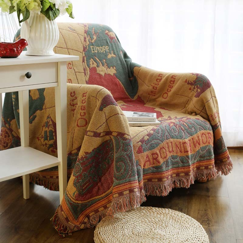 1pcs Map Nap Travel Tassel Blanket Sofa Bed Sleeping Cobertor Chair Decorative Throw Blanket Home Decoration 57026