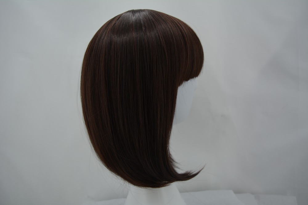 Synthetic Wigs Black Bob Wig Fei-show Synthetic Heat Resistant Fiber Hairpieces Oblique Fringe Bangs Short Wavy Hair Halloween Carnival Hairset