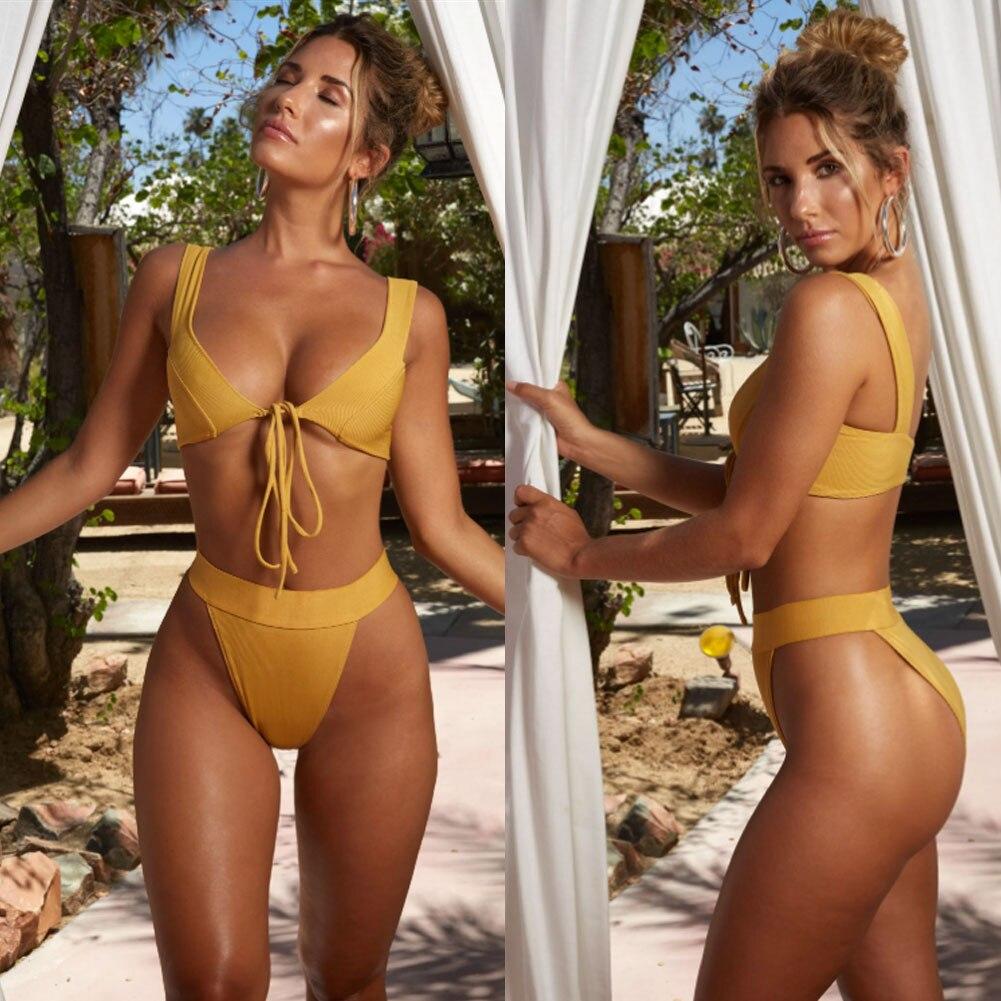 HTB1Y4SQbjzuK1Rjy0Fpq6yEpFXaC 2019 New Style Fashion Hot Solid Women Push-up Bandage Padded Bra Bandage Bikini Set Swimsuit Triangle Swimwear Bathing