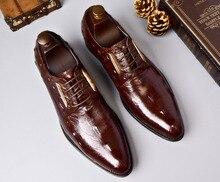 QYFCIOUFU New Arrival Crocodile Pattern Shoes Men's Business Suits Genuine Leather Men's Dress Shoes Wedding Shoes Breathable