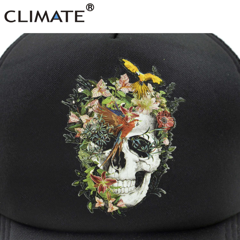 Iklim çiçek İskelet kamyon şoförü şapkası serin kafatası kemik kap HipHop beyzbol kapaklar yaz Bloodcurdling siyah file şapka şapka erkekler için