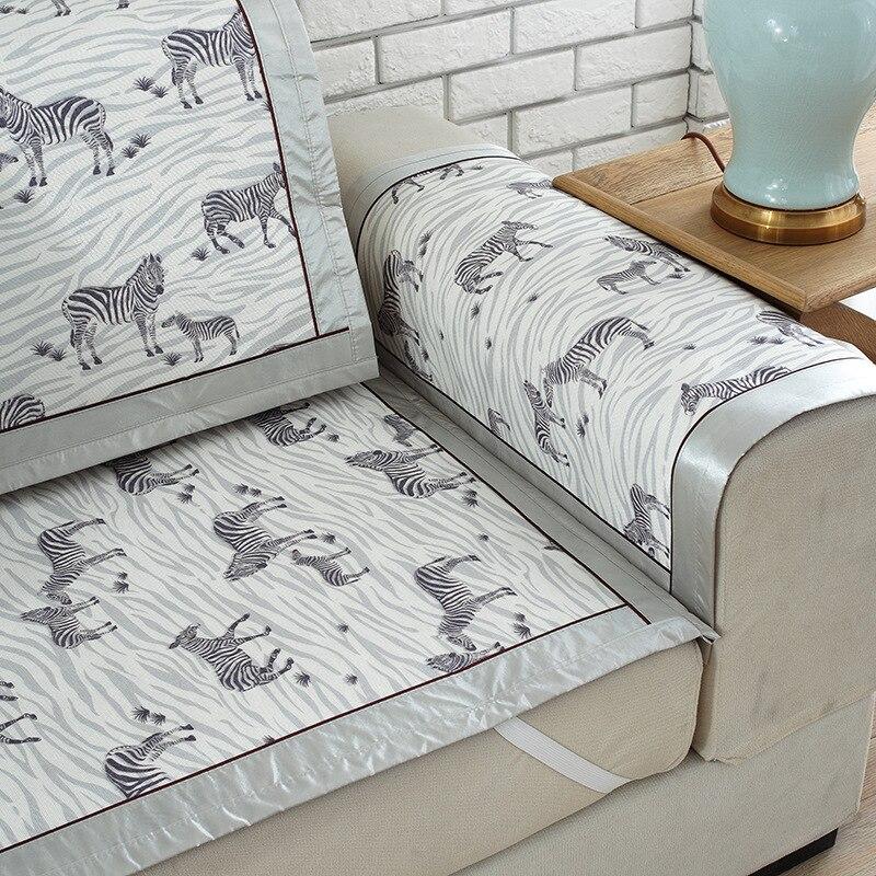 zebra style summer ice silk sofa cover modern non slip