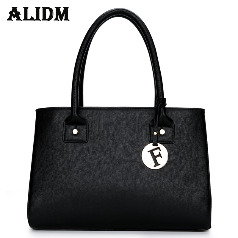 Brand Fashion Leather Shoulder Bags Elegant PU Leather Handbag Plain Female Big Tote Bag Ladies Bucket Bag Black Blue Red sac 2017 new elegant handbag for women high quality split leather female tote bags stylish red black gray ladies messenger bag
