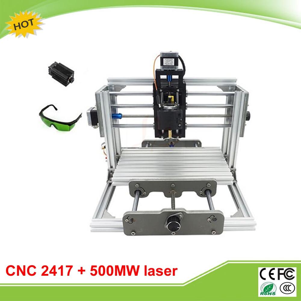 Mini CNC 2417 + 500mw laser CNC engraving machine PCB Milling Machine with GRBL control mini cnc 1610 pro cnc engraving machine pcb milling machine with grbl control
