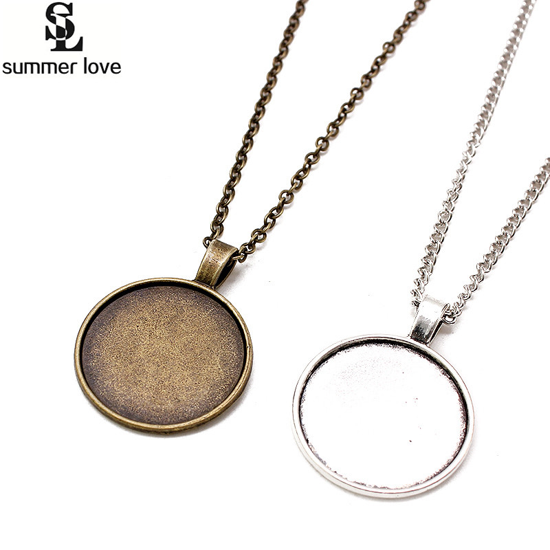 10Pcs 25MM Chain Pendant Necklace Setting Cabochon Cameo Base Tray Bezel Blank DIY Jewelry Making Findings mibrow 10pcs lot stainless steel 8 10 12 14 16 18 20mm blank french lever earring tray cabochon setting cameo base jewelry
